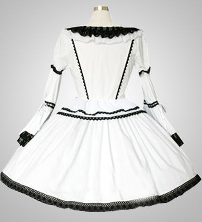 White Gothic Lolita Lace Dress Cosplay Costume