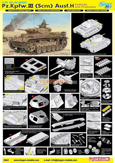 1:35 Dragon Sd.Kfz.141 Pz. Kpfw.III (5cm) Ausf H Late Production 6642