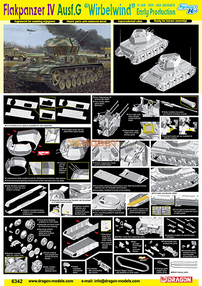 1:35 Dragon Flakpanzer IV Ausf. G Wirbelwind Early Production 6342