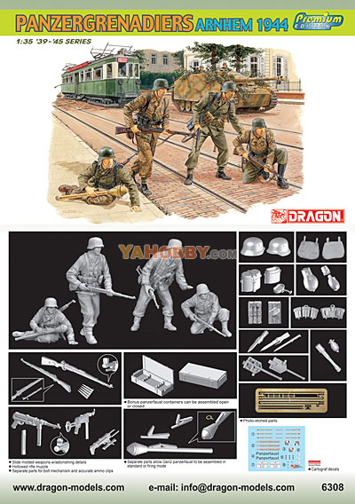 1:35 Dragon Panzergrenadiers Arnhem 1944 4 Figures Set 6308