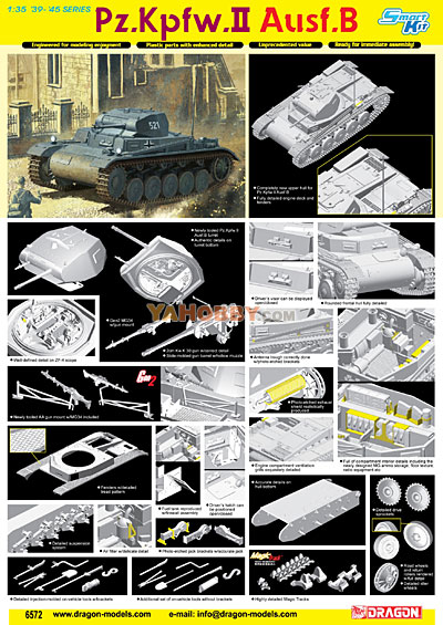 1:35 Dragon Tank Model Kits Pz.Kpfw.II Ausf.B Smart Kit 6572