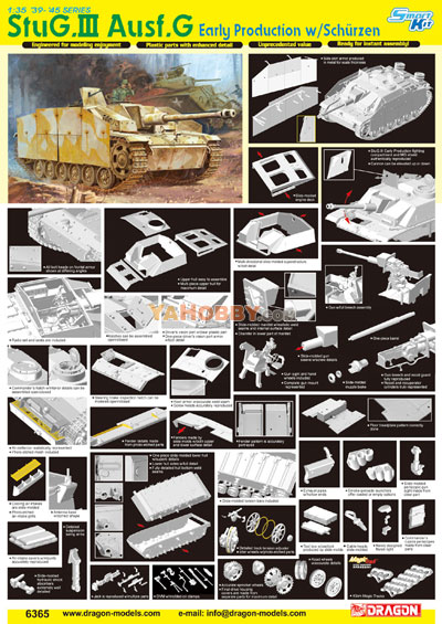 1:35 Dragon StuG III Ausf G Early Production w/Schürzen Smart Kit 6365