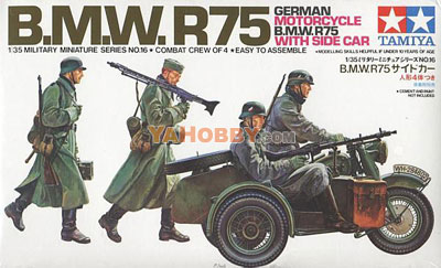 1:35 Tamiya Model Kit Bmw R75 With Side Car 35016