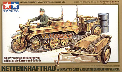 1:48 Tamiya Kettenkraftrad w/ Cart and Goliath 32502