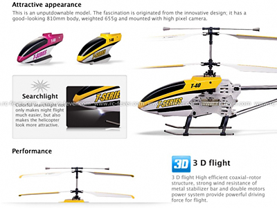 MJX T40C Shuttle 4CH RC Helicopter RTF w/ Gyro Spy Camera Pink